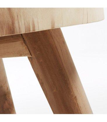Mesa redonda baja SLICE de madera natural maciza 65cm
