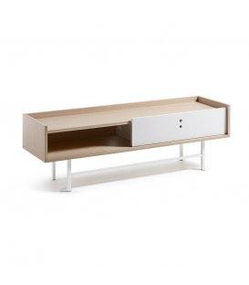 Mueble TV color roble natural y pies en metal lacados en blanco ERLA