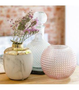 Jarrón de vidrio rosado con textura IGEL N3