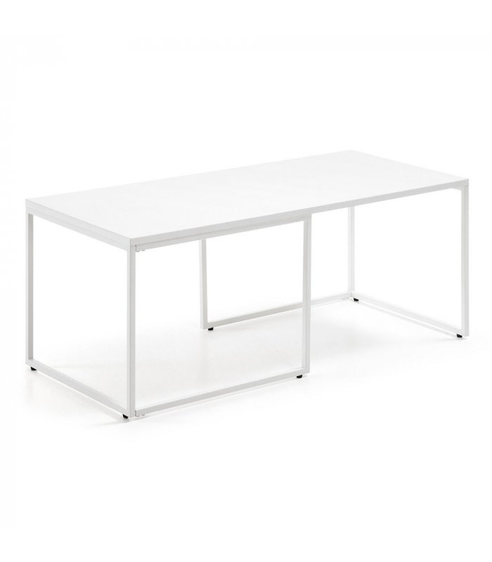 Mesa de centro con sobre y patas met licas lacados en blanco - Patas metalicas para mesas ...