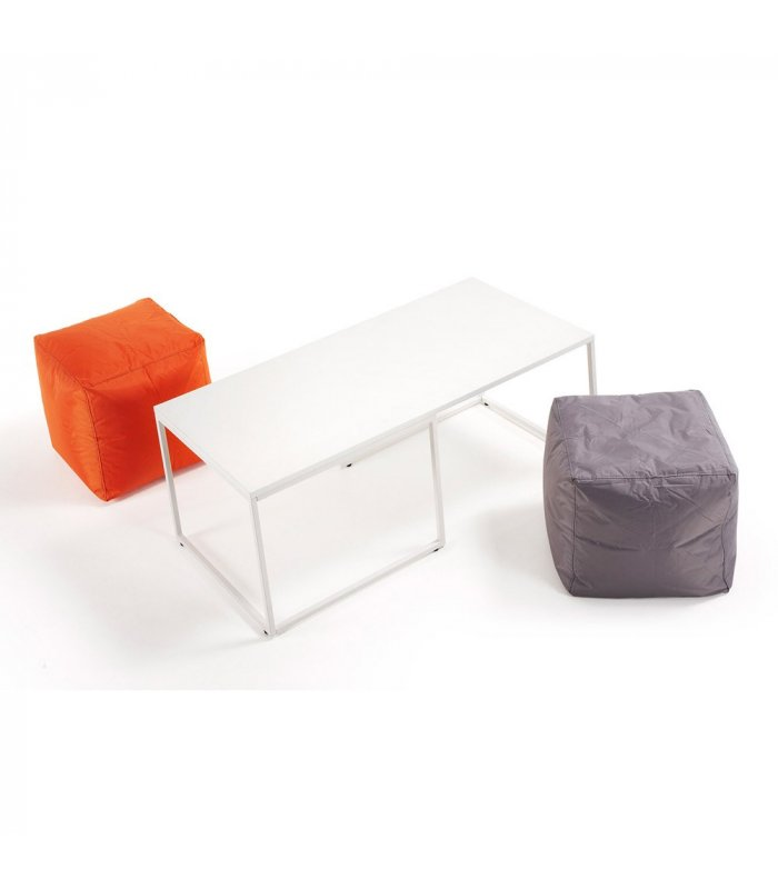 Mesa de centro con sobre y patas met licas lacados en blanco - Patas para mesa de centro ...