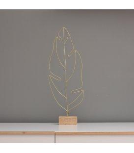 Hoja de banana en alambre dorado