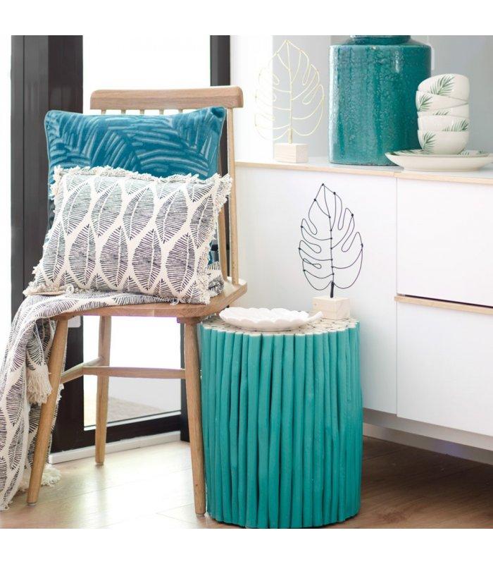 Mesa auxiliar redonda madera verde troncos FEEL