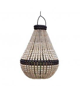 Lámpara de techo de bolitas de madera en color negro y natural CHIC