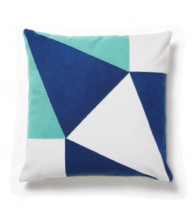 Cojín cuadrado azul blanco y turquesa GEOMETRIC 45x45cm