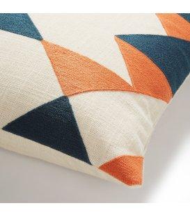 Cojín cuadrado mostaza naranja azul y beige GEOMETRIC 45x45cm