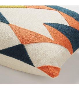 Cojín cuadrado mostaza naranja azul y beige GEOMETRIC 30x50cm