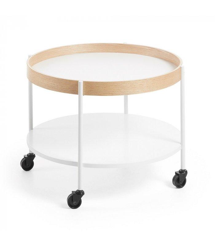 Mesa de centro circular con ruedas ban di metro 61cm - Mesas de centro con ruedas ...