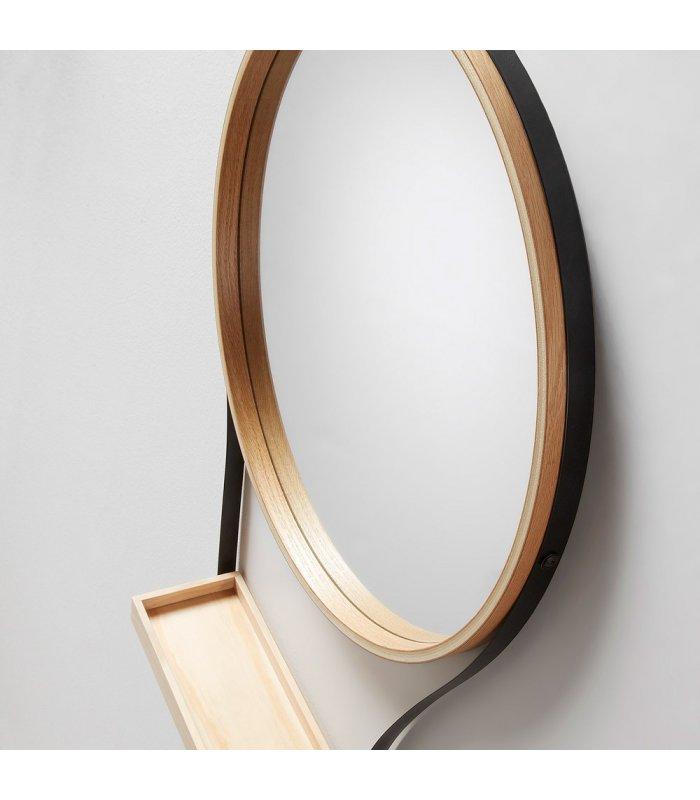 Espejo redondo en madera y metal con bandeja hello for Espejo redondo recibidor