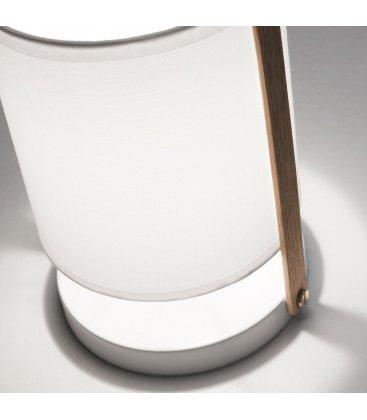 Lámpara de sobremesa blanco y madera NALA