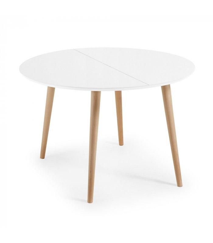 Mesa de comedor circular extensible sobre blanco y patas for Mesa madera extensible