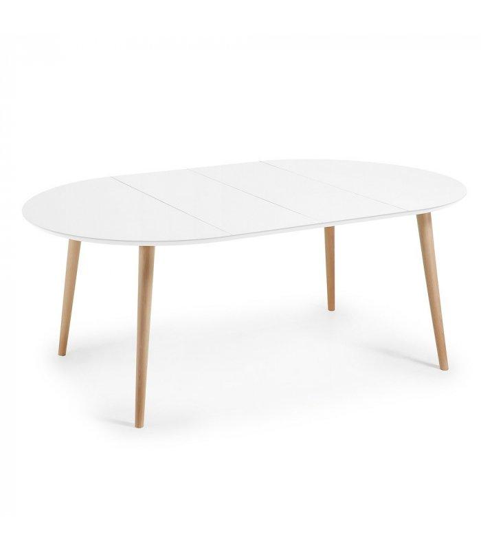 Mesa de comedor circular extensible sobre blanco y patas madera HILLS