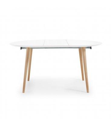 Mesa de comedor extensible con sobre blanco y patas de madera haya HILLS.