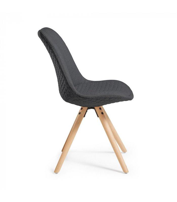 Silla de comedor gris oscuro acolchada con patas de madera for Comedor 4 sillas madera