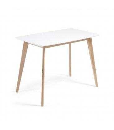 Mesa rectangular con sobre blanco mate y patas madera fresno ONE