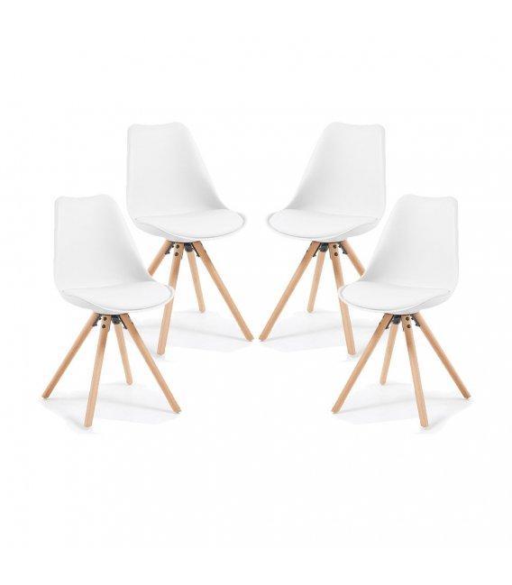 Silla de comedor blanca con patas de madera lara for Comedor 4 sillas madera
