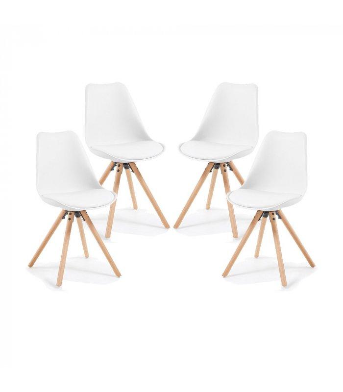 Silla de comedor blanca con patas de madera lara for Sillas para comedor modernas en madera