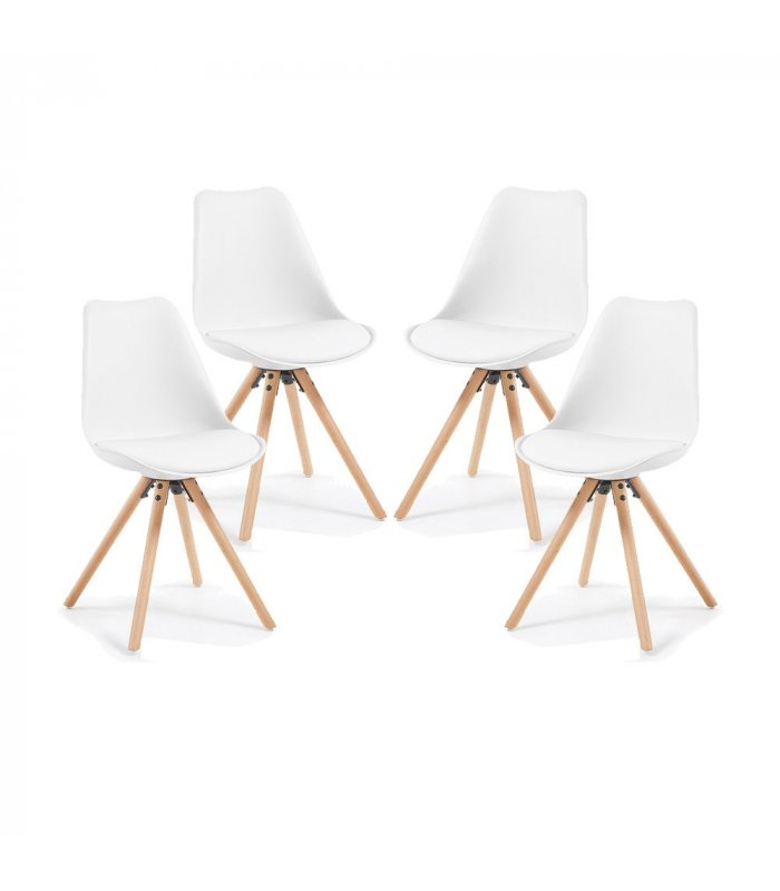 Silla de comedor blanca con patas de madera lara for Comedor de madera 4 sillas
