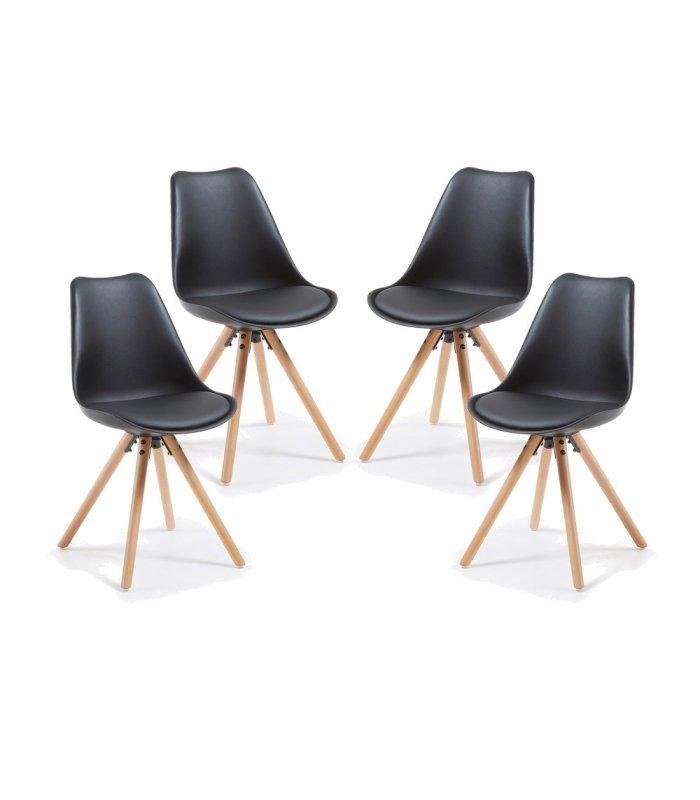Silla de comedor negra con patas de madera lara for Comedor 4 sillas madera