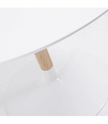 Mesa de comedor redonda con sobre blanco, pata madera fresno y pie metalico FLIC