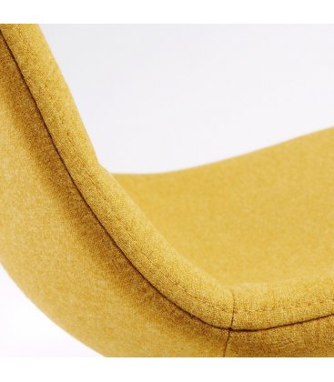 Taburete metal efecto madera tapizado mostaza LISS.