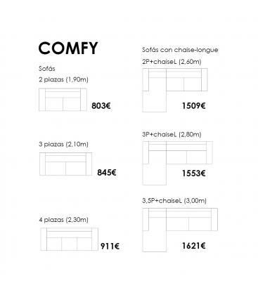 Sofá de 3 plazas COMFY 190cm (varios colores)