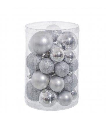 Set de 27 bolas de navidad plata brillo, mate y purpurina.