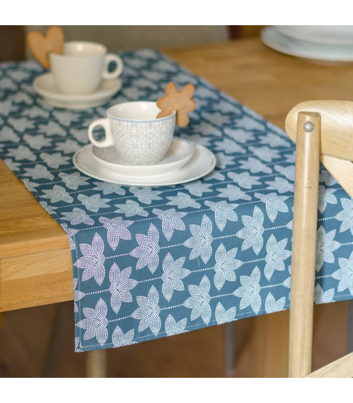 camino de mesa estampado flor loto azul 45x140cm - Caminos De Mesa