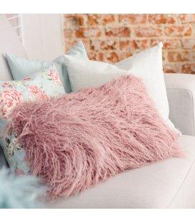 Cojín rectangular de pelo rosa 30x50cm