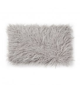 Cojín rectangular de pelo gris topo 30x50cm