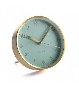 Reloj de pared y sobremesa mint y dorado