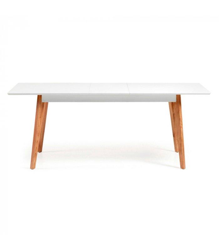 Mesa de comedor rectangular extensible con sobre blanco y for Mesa comedor rectangular madera