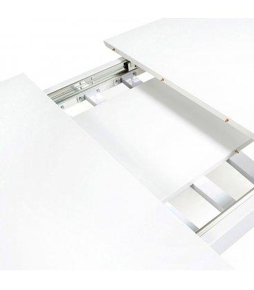 Mesa de comedor rectangular EXTENSIBLE con sobre blanco y patas de madera roble MOI