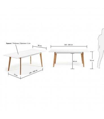 Mesa de comedor rectangular extensible con sobre blanco y for Mesa rectangular extensible