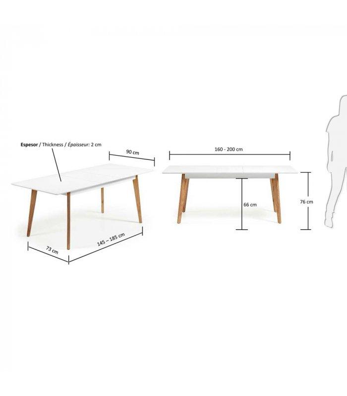 mesa de comedor rectangular extensible con sobre blanco y