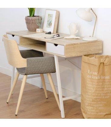 Silla madera de roble tapizada en gris claro con reposabrazos ANNE