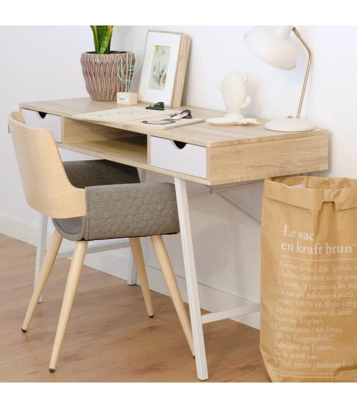 Silla madera de roble tapizada en gris claro con Sillas de cocina con reposabrazos