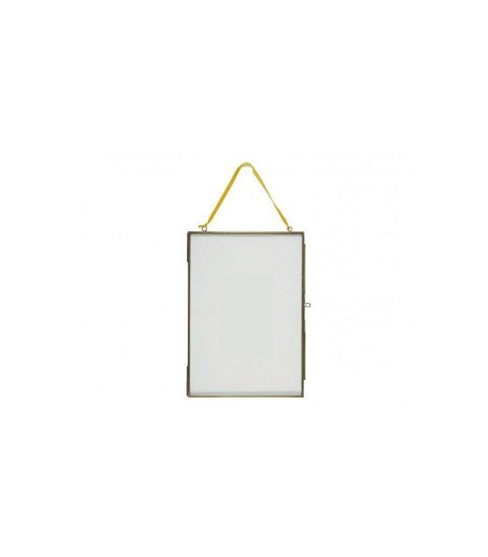 Marco de latón negro con centro de vidrio 35x50cm