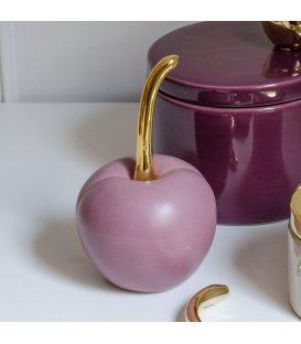 Cereza decorativa de cerámica rosa CHERRY