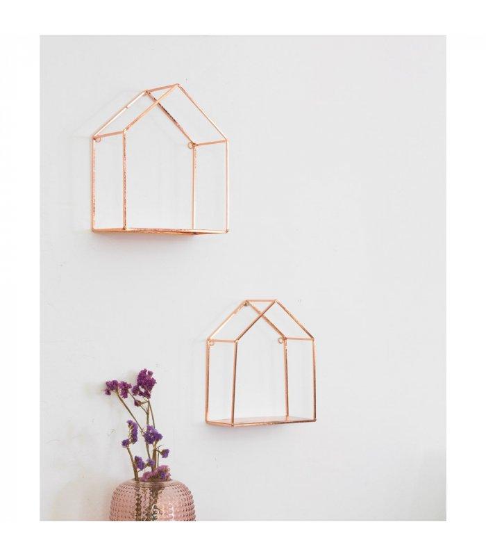 Estante con forma de casita de metal cobre maison grande for Casitas de metal para jardin
