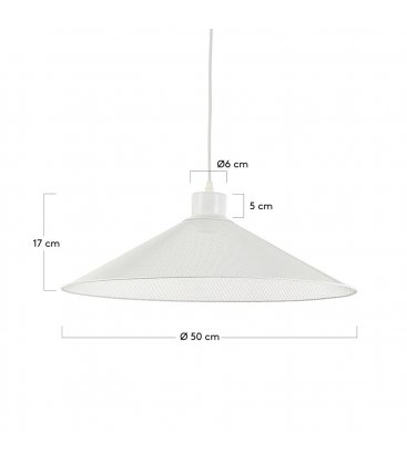 Lámpara de techo con pantalla en rejilla de metal blanco MUDI