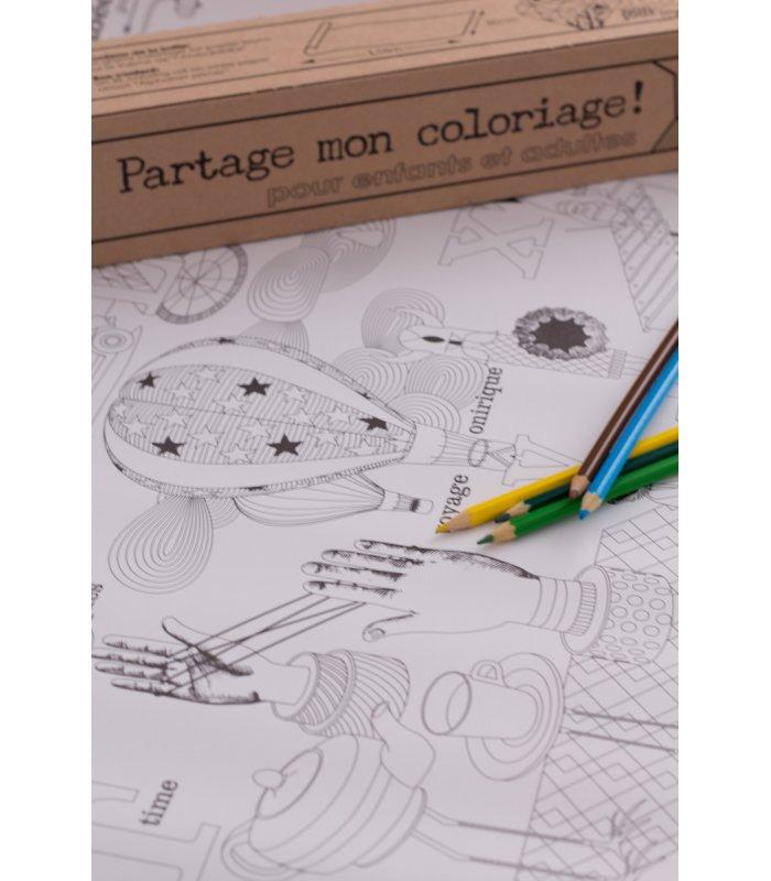 Rollo de papel con dibujos para colorear.