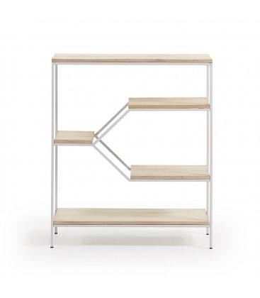 Estantería estructura metálica blanco y estantes madera mango SPACE