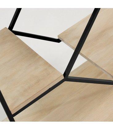 Estantería estructura metálica negro y estantes madera mango SPACE