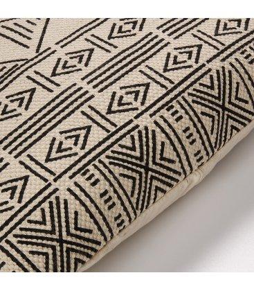 Cojín de algodón natural y negro NAZCA 45x45cm