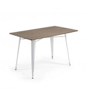 Mesa rectangular para interior y exterior patas metálicas blanco y sobre de bambú 150x80cm LIBY