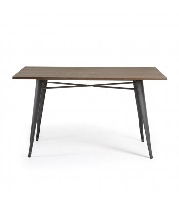Mesa rectangular para interior y exterior patas metálicas antracita y sobre de bambú 150x80cm LIBY