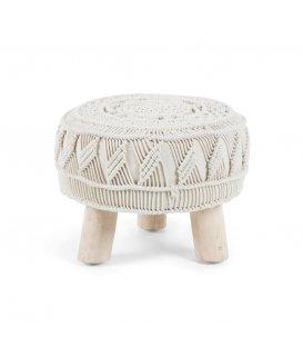 Taburete - reposapiés con pies de madera de mango y asiento en macramé de algodón CROCHET