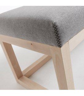 Asiento tapizado gris oscuro y estructura madera haya ALAN