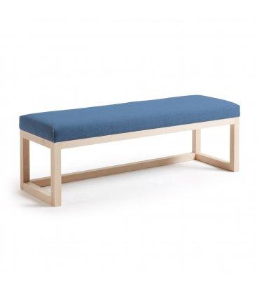 Asiento tapizado azul oscuro y estructura madera haya ALAN